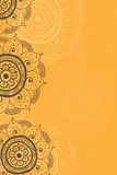 Fondo étnico del amarillo de la tarjeta de la invitación stock de ilustración