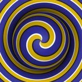 Fondo óptico de la ilusión del movimiento Esfera con un modelo espiral amarillo azul en fondo del doble hélice ilustración del vector