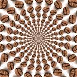 Fondo óptico psicodélico de la ilusión de la vuelta del grano de café foto de archivo