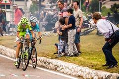 Fondo, Италия - 28-ое июня 2014: Дэвид Formolo Cannondale Стоковая Фотография