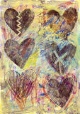 Fondo 2 de los corazones del Grunge Imagenes de archivo