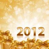 Fondo 2012 y regalo chispeantes del oro del año Fotografía de archivo libre de regalías
