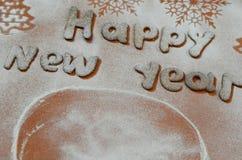 Fondo - Año Nuevo, galletas de un azúcar en polvo Imagen de archivo