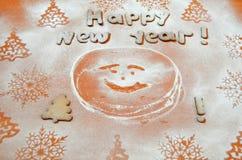 Fondo - Año Nuevo, galletas de un azúcar en polvo Imagen de archivo libre de regalías