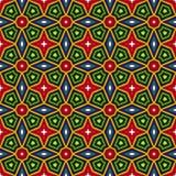 Fondo abstracto étnico brillante Modelo inconsútil del caleidoscopio con el ornamento decorativo en estilo africano Fotos de archivo libres de regalías
