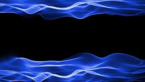 Fondo abstracto, animación que fluye del movimiento suave azul en fondo negro stock de ilustración