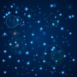 Fondo abstracto azul Cielo nocturno con las estrellas Ilustración del vector Nieve que cae Fondo blanco abstracto del copo de nie ilustración del vector