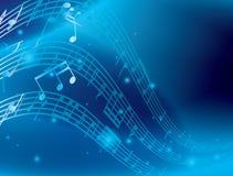 Fondo abstracto azul con las notas de la música - EPS Fotos de archivo