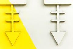 Fondo abstracto bicolor Dos elementos les gusta un esqueleto abstracto de pescados Color del amarillo de la parte y del gris de l Fotos de archivo libres de regalías