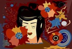 Fondo abstracto, cara pálida de la mujer estilizada -18-62 Fotografía de archivo
