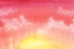 Fondo abstracto colorido Pendiente anaranjada, roja Cielo con las nubes Mano dibujada con la acuarela en un papel texturizado ilustración del vector