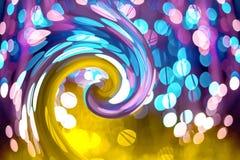 Fondo abstracto con el bokeh de neón de la textura de la fantasía El cumpleaños y el fondo festivo tienden el oro el ultravioleta imagen de archivo libre de regalías