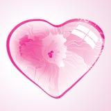 Fondo abstracto con el corazón floral rosado Fotografía de archivo libre de regalías
