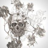 Fondo abstracto con el cráneo, las alas y las flores Foto de archivo libre de regalías