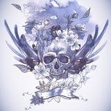 Fondo abstracto con el cráneo, las alas y las flores Fotografía de archivo