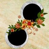 Fondo abstracto con el marco y las flores Foto de archivo libre de regalías