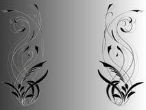 Fondo abstracto con el ornamento floral en los lados de la imagen en sombras del gris ilustración del vector