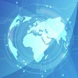 Fondo abstracto con global, ejemplo de la placa de circuito del vector Imágenes de archivo libres de regalías