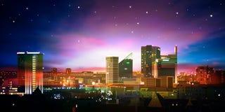 Fondo abstracto con la ciudad y la salida del sol stock de ilustración