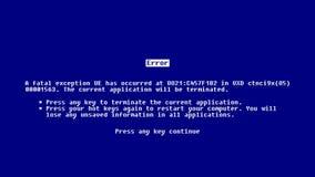 Fondo abstracto con la pantalla azul de la muerte almacen de metraje de vídeo