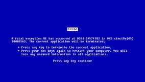 Fondo abstracto con la pantalla azul de la muerte metrajes