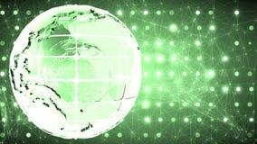 Fondo abstracto con la rotación del vidrio del globo Loopable Verde almacen de metraje de vídeo