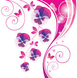 Fondo abstracto con la viola y la mariposa rosadas. Imagen de archivo libre de regalías