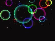 Fondo abstracto con las burbujas de jabón multicoloras brillantes stock de ilustración