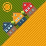 Fondo abstracto con las casas y los campos coloridos Fotos de archivo libres de regalías