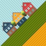Fondo abstracto con las casas y los campos coloridos Fotografía de archivo