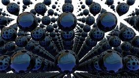Fondo abstracto con las esferas del metal, ejemplo 3d ilustración del vector
