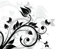 Fondo abstracto con las flores y la mariposa Fotografía de archivo