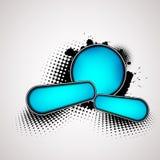 Fondo abstracto con las insignias azules Foto de archivo libre de regalías