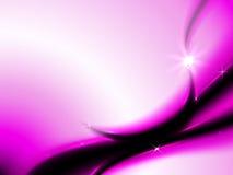 Fondo abstracto con las líneas negras y rosadas y la luna creciente Foto de archivo
