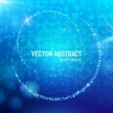 Fondo abstracto con las llamaradas luminosas azules del contexto y de la lente, y reflexiones que brillan intensamente Foto de archivo libre de regalías