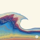 Fondo abstracto con las ondas mosaico ilustración 3D Fotografía de archivo