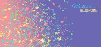 Fondo abstracto con llave y las notas de la música Imagenes de archivo