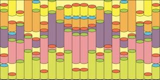 Fondo abstracto con los cilindros coloreados fijados Fotos de archivo