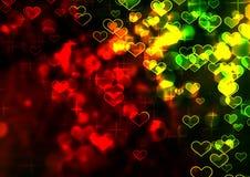 Fondo abstracto con los corazones brillantes coloridos Fotografía de archivo libre de regalías