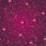 Fondo abstracto con los corazones y las estrellas stock de ilustración