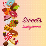 Fondo abstracto con los dulces Foto de archivo libre de regalías
