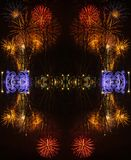 Fondo abstracto con los fuegos artificiales durante la celebración del sao Jose del día de padres imagenes de archivo