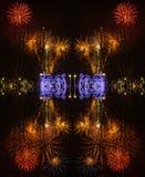 Fondo abstracto con los fuegos artificiales durante la celebración del sao Jose del día de padres fotografía de archivo libre de regalías