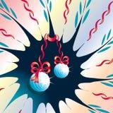 Fondo abstracto con los juguetes y las cintas de la Navidad Imagen de archivo libre de regalías