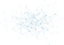 Fondo abstracto con los puntos y la red azules  Fotografía de archivo