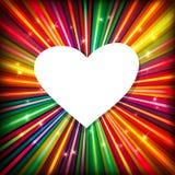 Fondo abstracto con los rayos y el corazón coloridos ilustración del vector