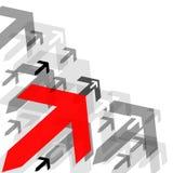 Fondo abstracto con muchas flechas y flecha grande roja Fotografía de archivo libre de regalías
