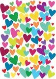 Fondo abstracto con muchos corazones del color Imagen de archivo