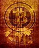 Fondo abstracto con símbolo y el mapa del mundo del bitcoin Imagen de archivo libre de regalías