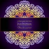 Fondo abstracto con un marco colorido de la mandala, ornamentos del papel pintado floral del damasco, tarjeta de la invitación en Fotos de archivo libres de regalías